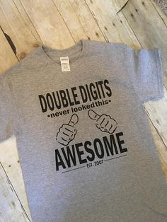 Double Digits Never Looked This Awesome Thumbs Tenth Birthday Shirt Tee 10th Ten Boy Bday Girl Years