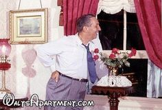 A rare photo of Walt in his apartment, enjoying the view of Disneyland's town square. — with Walt Disney at Walt's Apartment. www.WaltsApartment.com
