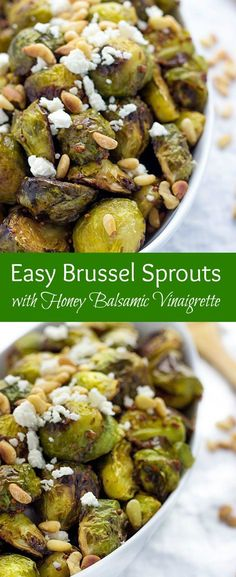 These Easy Brussel Sprouts with Honey Balsamic Vinaigrette are a healthy and delicious side dish for any holiday table. You've got to try them! via HTTP://www.pinterest.com/lavenderandmcrn/