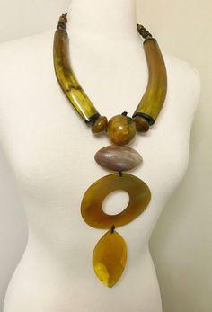 Gorgeous Statement Large Goldish Yellow Dye Buffalo Horn Monies Style Necklace | eBay