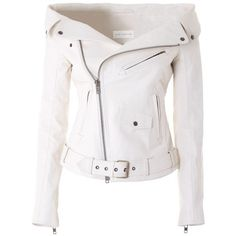 FAITH CONNEXION  Sailor leather jacket (€900) ❤ liked on Polyvore featuring outerwear, jackets, coats, tops, leather jackets, white, faith connexion, white leather jacket, genuine leather jackets and buckle jackets