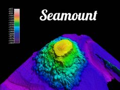 A huge underwater volcanic mountains that may emerge from the ocean surface as an island.