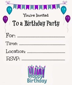 Free Online Printable Birthday Party Invitations
