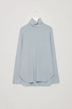 COS image 5 of High-neck silk blouse in Grey Cut Sweatshirts, Sweater Shirt, Wearing Black, Modest Fashion, Style Me, Cashmere, Dress Up, Cos, Silk