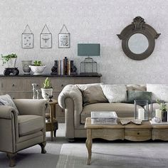 Victorian-style living room in cool neutrals | Living room decorating | Ideal Home | Housetohome.co.uk