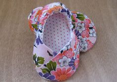 Pink Orchid  Baby Kimono Shoes  Baby Slippers by littlepearco