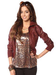 Zip Detail Leatherette Jacket