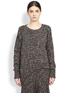 Stella McCartney Asymmetrical Melange Tweed-Knit Sweater
