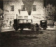 [Shadows-Garage-at-Night-Drypoint-Martin-Lewis.jpg] from The Great Gatsby Era : Martin LEWIS, printmaker Rockwell Kent, Norman Rockwell, Greenwich Village, Davidson Galleries, Skyline, Landscape Prints, Gravure, American Artists, Printmaking