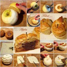MANZANAS HOJALDRADAS: Pelar la manzana y pasarle limón por encima; cortar más arriba de la mitad, extraer el centro y limpiar haciéndole un hueco para rellenarlo con lo que quieras; llevar a un tazón con azúcar y canela y cubrir toda la manzana. Rellenar, cubrir la manzana con tiritas de masa de hojaldre. A un pedacito de masa darle forma de hojas y colocar. Con una brocha de cocina untar huevo batido.Llevar al horno precalentado 350° por 10 a 15 minutos o hasta que esté dorado.