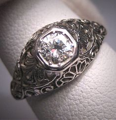 Platinum Antique Diamond Wedding Ring Vintage Art Deco.