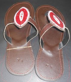 Maasai Leather Sandals decorated with beaads