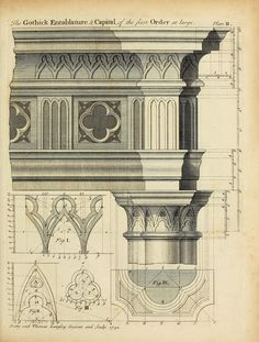 Gothic order drawing for entablature and capital