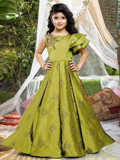 Shop Green color satin floor length gown online from India. Kids Gown Design, Baby Dress Design, Kids Frocks Design, Frock Design, Indian Dresses For Kids, Indian Gowns Dresses, Gowns For Girls, Frocks For Girls, Kids Party Wear Dresses