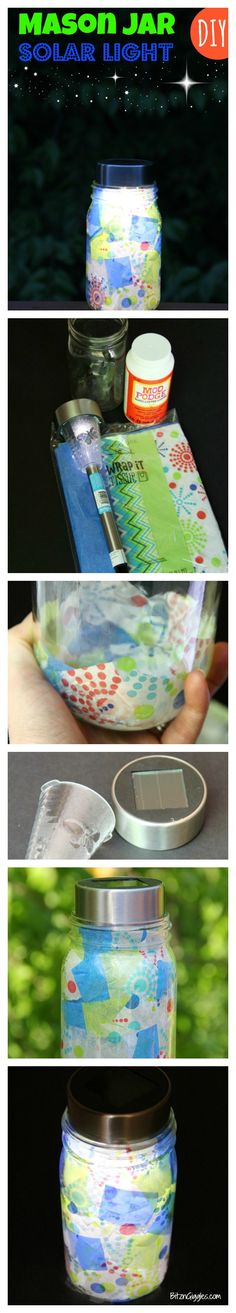 DIY Mason Jar Solar Light - What an awesome way to light up your deck in the summer!