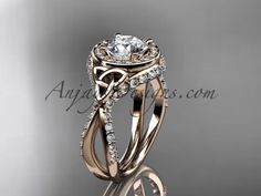 14kt rose gold diamond celtic trinity knot wedding ring, engagement ring CT7416