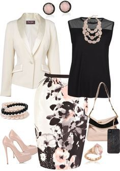"""""""Work or Church"""" by denise-cooper ❤ liked on Polyvore. Beautiful skirt. Minus jewelry."""