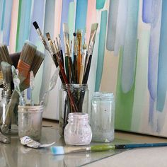 Clean brushes and studio. Sunlight pouring in. Photo taken by @ann_jackson_art on Instagram