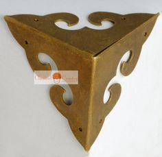 "4pc Chinese Furniture Brass Hardware Trunk Box Copper Corner Plate 3 Sides 1.77"" +2"