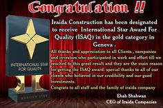 for more information please visit www.iraidaestateagency.com  www.oasismarina.net  www.iraidaconstruction.com Star Awards, Effort, Appreciation, Thankful