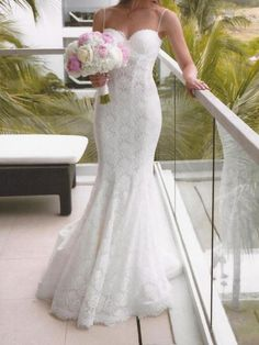 Patricia Customized Lace Overlay Wedding Dress with Spaghetti Straps