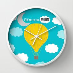 Hot Air Balloon Wall clock - Modern clock - Romantic gift - Nursery decor - Decorative Clock -Contemporary decor - Wall Decor - Wall art