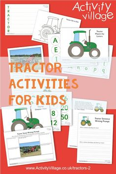 Just a taster of our tractor activities - colouring pages, worksheets, fun printables! Perfect for tractor fans, a farm topic, autumn or Harvest Festival. Tractor Coloring Pages, Colouring Pages, Worksheets For Kids, Activities For Kids, Tractor Crafts, Tractors For Kids, Activity Village, Fun Prints, Sentences