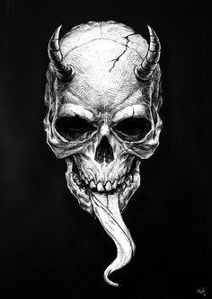 Skull of love by bmutt Demon Drawings, Dark Art Drawings, Cool Skull Drawings, Skull Tattoo Design, Skull Tattoos, Dark Fantasy Art, Arte Horror, Horror Art, Art Sinistre