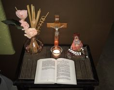 My altar with crucifix, Erzulie Freda, flowers, rosaries, and 1662 Book of Common Prayer Catholic Prayers For Strength, Catholic Prayer For Healing, Catholic Prayers Daily, Catholic Bible, Prayers For Healing, Erzulie Freda, Liturgical Seasons, Book Of Common Prayer, Childrens Bedroom Decor