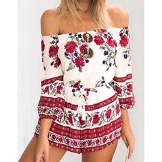 Floral Off Shoulder Romper. - I'm wearing size S on the photo  - new with tags -  Has elastic top and the waist is adjustable. - ships out in 4 days.  --------------------- Let's keep in touch ❤️ 💟Instagram: @lanier_boutique 💟Facebook : Lanier Boutique 💟 Twitter: @lanierboutique 💟Snapchat: lanierboutique Dresses Mini