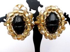 Vintage Signed Robert Earrings Black Poured Glass Pearl Clip Glass Bead | eBay