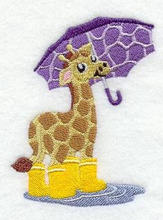 Gideon Giraffe Under Umbrella design (C8036) from www.Emblibrary.com
