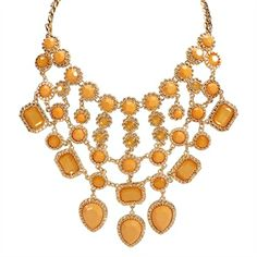 Natasha Multi-Stone Bib Necklace | from Von Maur #VonMaur #Accessories #Jewelry #Yellow #Mustard #Fashion