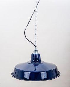 FACTORY 41 cm Blau - lautentico  Emaille Lampe Enamel Lamp Fabriklampe Industrielampe lautentico