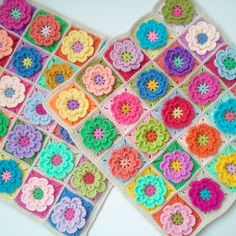 Crochet flower squares, similar to Rosehip design. totally gorgeous. can't help but smile at this.