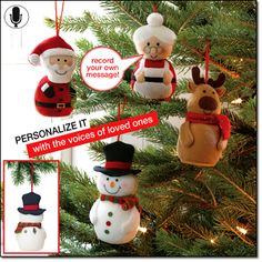 """Recordable Character Ornament AVON EXCLUSIVE Records and plays back your holiday message. Each, 4 1/2"""" H. Uses 3 button-cell batteries (included). Plush. Imported. Santa Mrs. Claus Reindeer Snowman Price: only $9.99 each  Available at www.youravon.com/leconomidy."""
