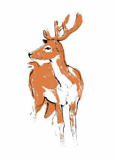 Copper Deer limited edition handmade screenprint made with recycled paper and water-based metallic ink. Available from http://tiffhowick.bigcartel.com