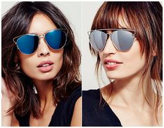 """Free People """"Top Down"""" Aviator Sunglasses in blue and grey, $20 (Dior Technologic dupes)"""