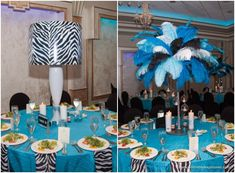 Bat Mitzvah Centerpieces, Zebra Lampshade & Feathers in Blue & Black {Exquisite Caterers at Marlboro Jewish Center NJ, Unlimited Exposures} - mazelmoments.com