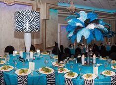 Bat Mitzvah Centerpieces, Zebra Lampshade & Feathers in Blue & Black {Exquisite Caterers at Marlboro Jewish Center NJ, Unlimited Exposures} - mazelmoments.com