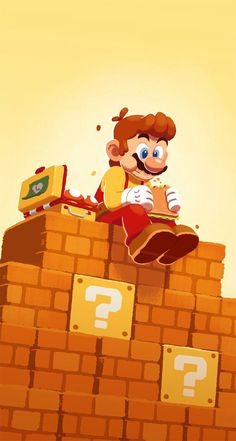 "This piece of fan art is inspired by the game ""Super Mario Maker."" It shows Mario in a different light eating some lunch after a hard day of creating a new level. Original: coryosterberg ""Maker Mario Making a Lunch Break"" Super Mario Bros, Super Mario Kunst, Super Mario World, Super Mario Brothers, Super Smash Bros, Nintendo Game, Nintendo World, Nintendo Characters, Video Game Characters"