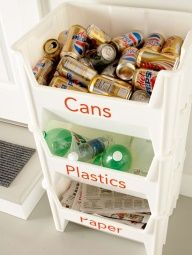 Doing this! But I would put newspaper on top, then plastic, then glass on the bottom. I will have a separate container for cans :)