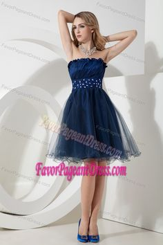 Strapless Ruffle Beading Prevalent Navy Blue Pageant Dress Made by Organza