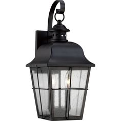 """View the Quoizel MHE8409 Millhouse 2 Light 19"""" Tall Outdoor Wall Sconce with Clear Seedy Glass at LightingDirect.com."""