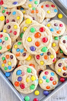Soft and Chewy M&M Cookies - Soft and chewy cookies filledwith M&M's chocolate candies.Make these cookiesregular sized or mini! #cookies #chocolate #baking #dessert #christmascookies
