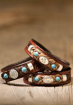 Tooled Leather Horse Hair Bracelet with Gems. $39.99, via Etsy.