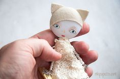 Snow Cat Doll Brooch Girl mixed media collage gift by miopupazzo
