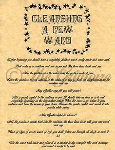 Cleansing a New Wand, Book of Shadows Page, BOS Pages, Rare Witchcraft Spell