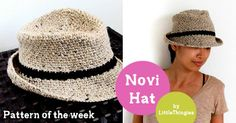 Free crochet fedora hat pattern ༺✿ƬⱤღ http://www.pinterest.com/teretegui/✿༻