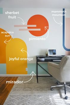 Turning my neutral office into a colorful, bright new space using paintl: my inspiration, the colors I used, before and afters, and process pictures. Wall Design, House Design, Office Mural, Interior Decorating, Interior Design, Interior Office, New Room, Bedroom Wall, Home Decor Inspiration